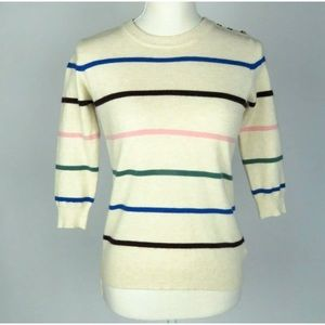 ModCloth Striped 3/4 Length Sleeved Sweater Size S